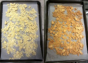 Crumble topping before and after baking.