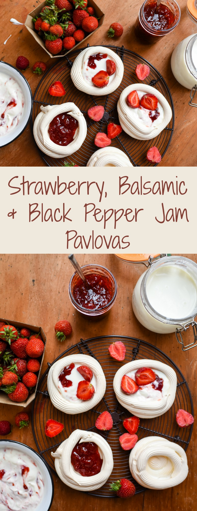 Strawberry, balsamic & black pepper jam pavlova | Patisserie Makes Perfect