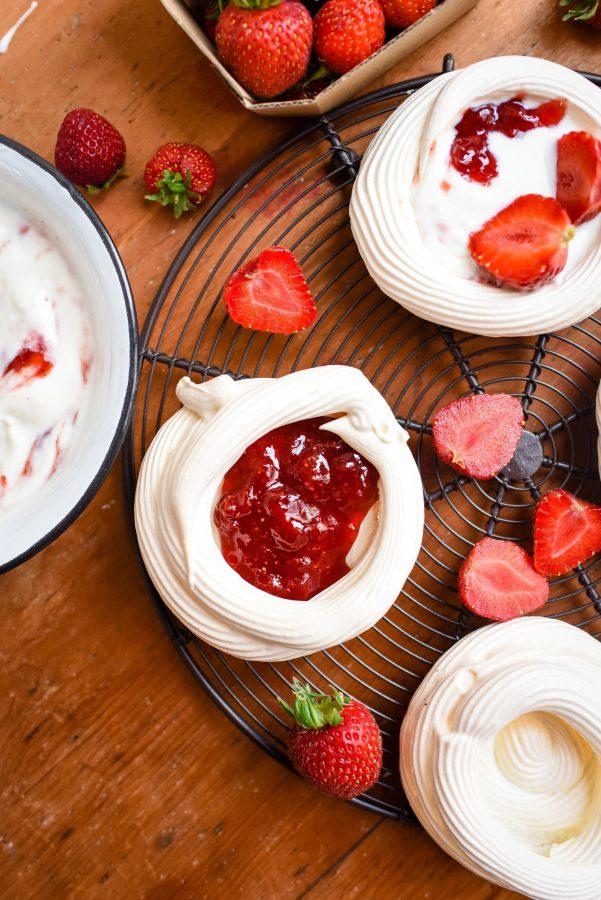 Strawberry, Balsamic & Black Pepper Jam Pavlovas   Patisserie Makes Perfect