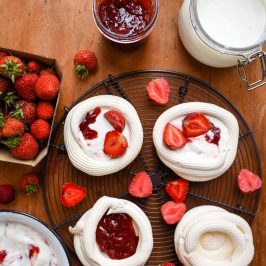 Strawberry, Balsamic & Black Pepper Jam Pavlovas