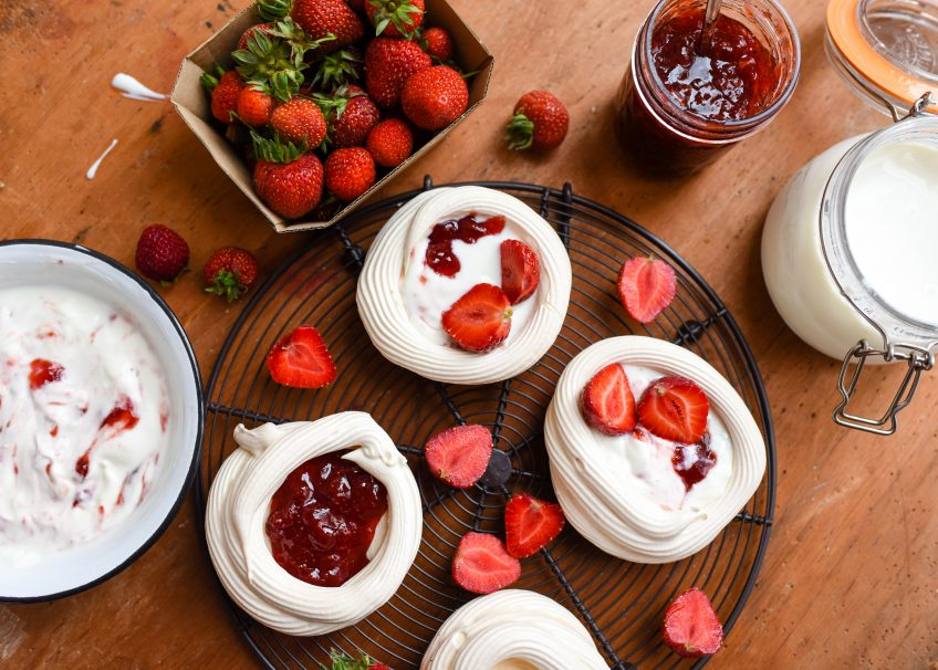 Strawberry, Balsamic & Black Pepper Jam Pavlovas | Patisserie Makes Perfect